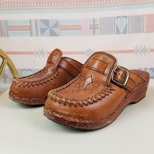 Vintage 70s Leather Clogs
